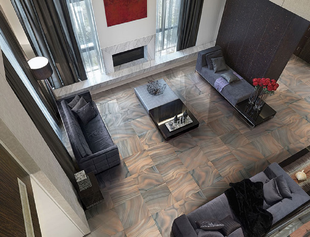 Overhead view of modern living room