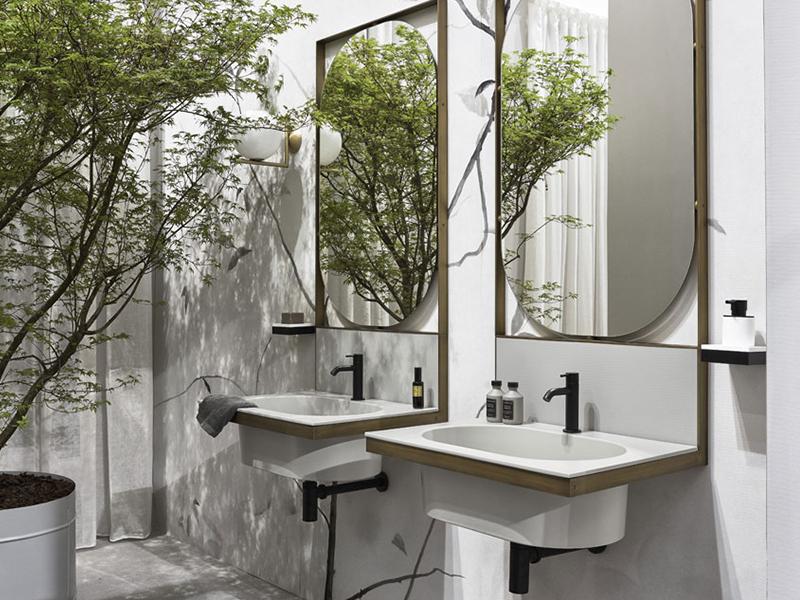 doble lavabo cuadrado tonos blancos
