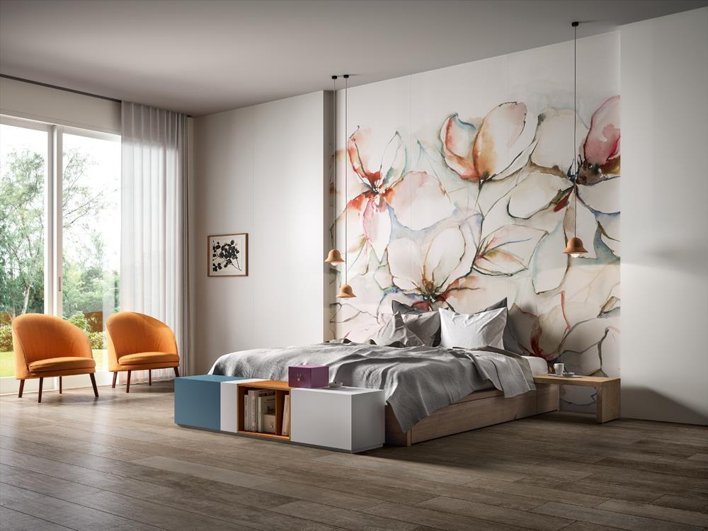 papel pintado gres porcelanico aplicación habitación
